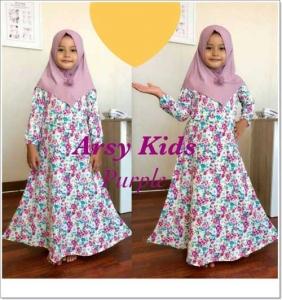Baju gamis Anak perempuan Lucu Arsy Kids 3 Khimar Bahan Full Jersey