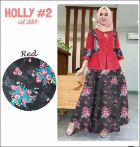 Busana Muslim Modern Cantik Holly Set Bahan Baloteli