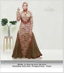 Butik Gaun Pesta Muslimah Milea dress Bahan Brokat