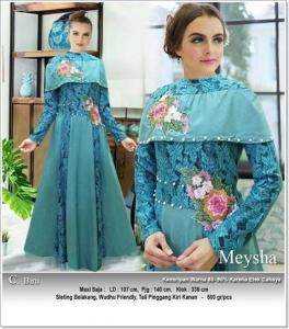 Gaun Pesta Muslimah Cantik Unik Meysha Dress Bahan Baloteli Kombi Brukat