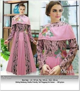 Gaun Pesta Muslimah Cantik Unik Meysha Dress Bahan Balotelli Kombi Brukat