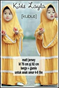 Baju Muslim Anak Perempuan Layla Kids Bahan Jersey