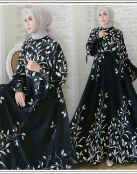 Busana Muslimah Cantik Ramoza Dress Bahan Bubblepop