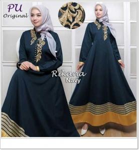 Gaun Pesta Muslimah Cantik Unik Rikana Dress Bahan Baloteli Premium