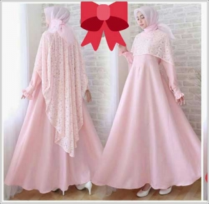 Jual Gaun Pesta Muslimah Elegan Syifa Dress Bahan Mosscrepe