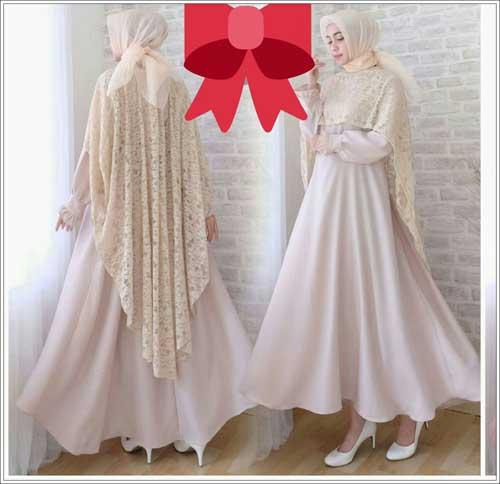 Jual Gaun pesta muslimah elegan Syifa Dress warna crem bahan mosscrepe