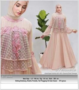 Jual Online Busana Muslim Modern Nirmala Dress Bahan Ceruti