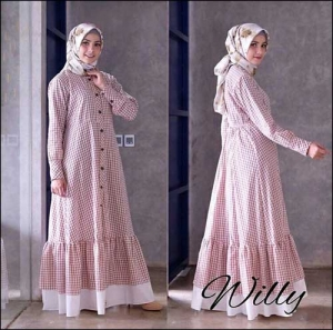 Online Shop Baju Hijabers Modern Modis Willy Maxi Warna Mocca Bahan Katun Yanded