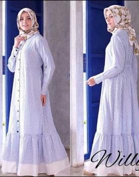 Online Shop Baju Hijabers Modern Modis Willy Maxi Blue Bahan Katun Yanded