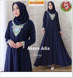 Agen Busana Muslim Modern Abaya Julia Warna Navy Bahan Crepe