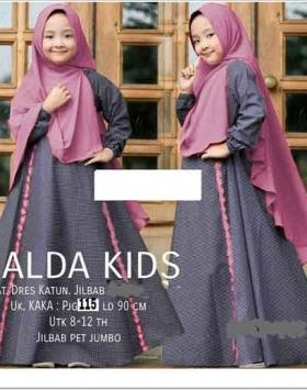 Baju Gamis Anak Perempuan Terbaru Alda Kids dengan Khimar Bahan Katun Motif Kotak