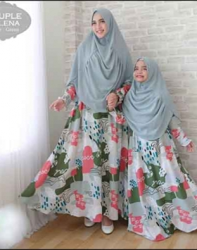 Baju Gamis Helena Couple Ibu dan Anak Bahan Woolpeach
