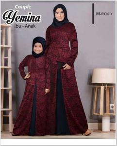 Baju Muslim Couple Ibu Dan Anak Yemina Couple Bahan Brukat