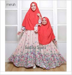 Baju Muslim Couple Ibu dan Anak Sartika Syar'i bahan Balodior