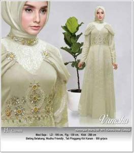 Distributor Baju Pesta Muslim Vanesha Dress bahan Jaquard