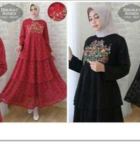 Gamis Modern Ukuran Kecil Agnes Dress Warna Maroon Hitam Bahan Brukat