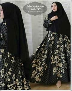 Jual Baju Gamis Terbaru Sanny Syar'i Warna Hitam Bahan Maxmara Import