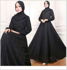 Jual Online Busana Muslim Pesta Zaquard Dress warna Hitam Bahan Arabian Zaquard