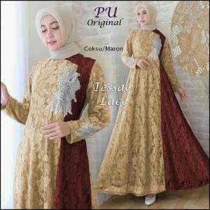 Jual Grosir Baju Gamis Modern Tanah Abang Teksae Lace Dress Bahan Brokat