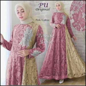 Jual Grosir Baju Gamis Modern Tanah Abang Tessae Lace Dress Bahan Brokat