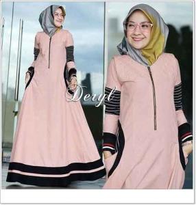 Onlineshoop Baju Hijabers Modern Cantik Deryl Maxi Bahan Ima Platinum