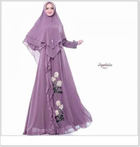 Supplier Baju Gamis Pesta Syakila Syar'i mewah Angun Bahan Ceruti