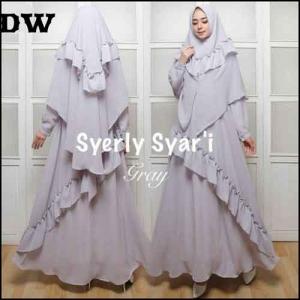 Jual Baju Gamis Cantik Model Terkini Syerli Syar'i Bahan Crepe Premium