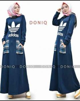 Jual Busana Muslim Casual Adidas Maxi Bahan Kaos Import
