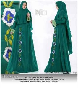 Supplier Baju Gamis Pesta Polos Rahima Syar'i Warna Hijau Tosca Bahan Ceruti