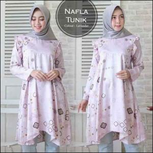 Baju Atasan Wanita Muslim Nafla Tunik Bahan Monalisa