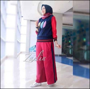 Online Shop Baju Hijabers Modern Zarlin Set Kulot Bahan Kaos Combad