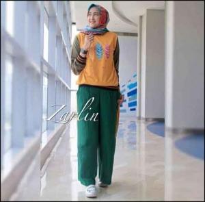 Online Shop Baju Hijabers Modern Zarlin Set Bahan Kaos Combad