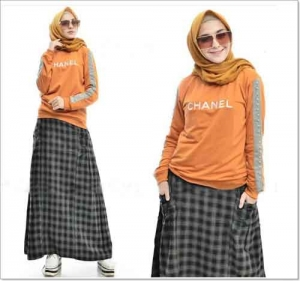 Baju Muslim Masa Kini Chanel Set Bahan Kaos Combed
