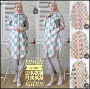 Distributor Baju Atasan Wanita Muslim Tunik Square Bahan Katun