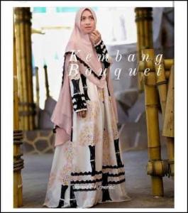Jual Baju Gamis Syar'i Tanah Abang Kembang Bouquet Syar'i Bahan Monalisa