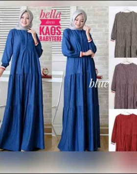 Jual Busana Muslim Casual Bella Dress Bahan Baby Terry