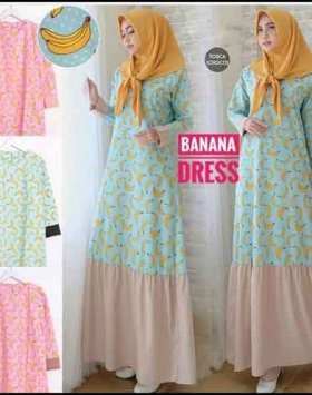 Online shop Hijabers Modern Banana Dress Bahan Katun Jepang