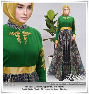 Jual Online Busana Muslim Pesta Modern Khalifa Dress Bahan Ceruti