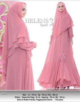 Agen Baju Gamis Pesta Helens Syar'i Pink Bahan Ceruti Premium