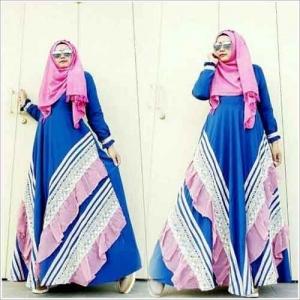 Baju Gamis Terbaru Naura Dress Bahan Arabian Crepe