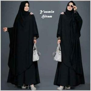 Baju Gamis Yasmin Syar'i Polos Hitam Bahan Misbie