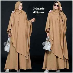 Baju Gamis Yasmin Syar'i Polos Mocca Bahan Misbie