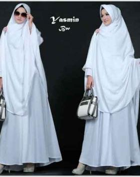 Baju Gamis Yasmin Syar'i Polos Putih Bahan Misbie