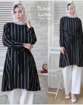 Baju Tunik Luna Modern Tanah Abang Hitam Bahan Monalisa
