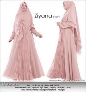 Jual Gamis Polos Pesta Ziyana Syar'i Pink Muda Bahan Ceruti