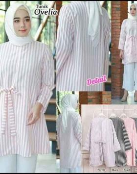 Supplier Baju Atasan Wanita muslim 2019 Ovelia Tunik Putih Bahan Woolpeach