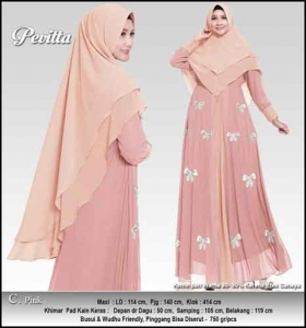 Supplier Baju Gamis Pesta Tanah Abang Pevita Syar'i Pink Bahan Ceruti