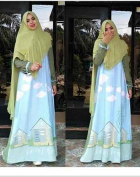 Baju Gamis Cantik Sweet home syar'i Bahan Woolpeach