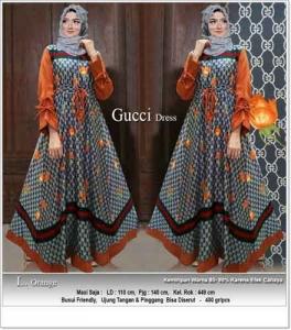 Gamis Cantik Terbaru Mewah Guci Dress Warna Orange Bahan Maxmara
