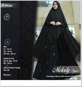Jual Grosir Gamis Melody Syar'i Warna Hitam Bahan Ceruti Premium